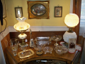 Fenton and Hurricane Lamps and elegant glass